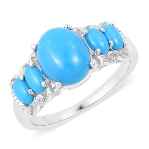 Arizona Sleeping Beauty Turquoise Sterling Silver 5 Stone Ring (Size 8.0) TGW 4.00 cts.