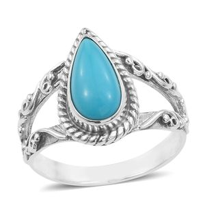 Artisan Crafted Arizona Sleeping Beauty Turquoise Sandblasted Sterling Silver Split Ring (Size 9.0) TGW 2.53 cts.