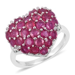 Niassa Ruby Sterling Silver Heart Ring (Size 7.0) TGW 4.50 cts.