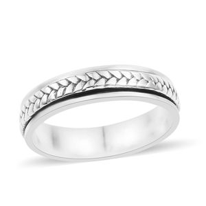 Doorbuster Artisan Crafted Sterling Silver Braided Spinner Ring (Size 7.0)