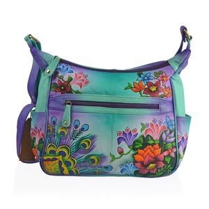 SUKRITI - Teal and Purple Genuine Leather Hand Painted Beauty of Nature Handbag (12x4.5x12 in)