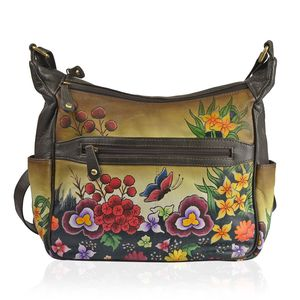 SUKRITI - Brown and Tan Genuine Leather Hand Painted Beauty of Nature Handbag (12x4.5x12 in)