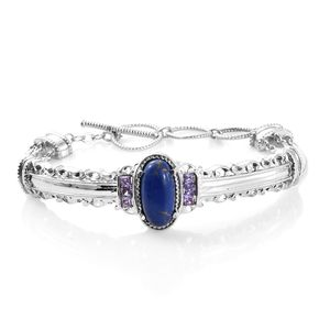 TLV Mojave Lapis Turquoise, Simulated Purple Diamond Stainless Steel Bangle (7.25 in) TGW 5.43 cts.