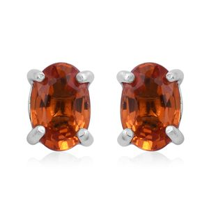 Orange Sapphire Sterling Silver Stud Earrings TGW 1.16 cts.