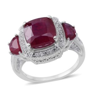 Niassa Ruby, Cambodian White Zircon Sterling Silver Ring (Size 7.0) TGW 9.34 cts.