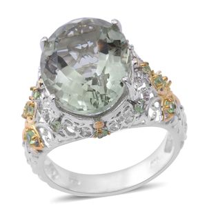 Green Amethyst, Tsavorite Garnet 14K YG Over and Sterling Silver Ring (Size 8.0) TGW 10.92 cts.
