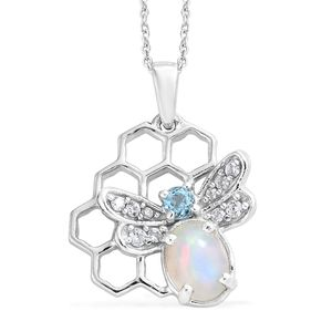 Ethiopian Welo Opal, Multi Gemstone Platinum Over Sterling Silver Pendant With Chain (20 in) TGW 1.17 cts.