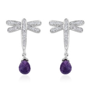 Amethyst, Cambodian Zircon Platinum Over Sterling Silver Dragonfly Earrings TGW 4.75 cts.
