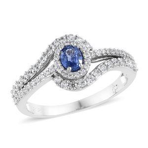Ceylon Blue Sapphire, Cambodian Zircon Platinum Over Sterling Silver Ring (Size 7.0) TGW 1.30 cts.
