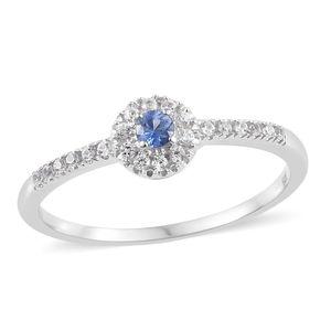 Ceylon Blue Sapphire, Cambodian Zircon Platinum Over Sterling Silver Ring (Size 7.0) TGW 0.43 cts.