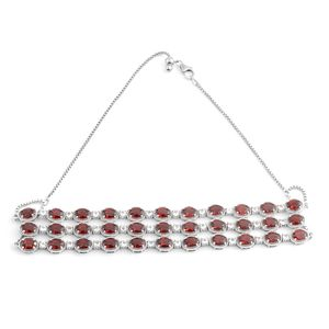 Mozambique Garnet, White Topaz Platinum Over Sterling Silver Necklace (15 in Adjustable) TGW 43.19 cts.