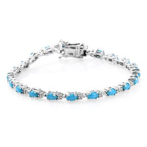 Dan's Collector Deal Arizona Sleeping Beauty Turquoise, Cambodian Zircon Platinum Over Sterling Silver Bracelet (6.50 In) TGW 4.80 cts.