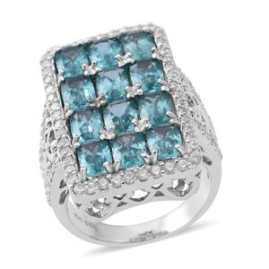 Madagascar Paraiba Apatite, Cambodian White Zircon Platinum Over Sterling Silver Ring (Size 10.0) TGW 6.66 cts.