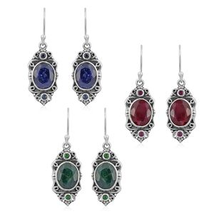 Customer Appreciation Day Artisan Crafted Multi Gemstone (Color Enhanced) Sterling Silver Set of 3 Earrings TGW 24.46 cts.