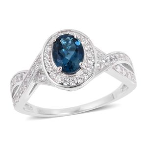 Customer Appreciation Day London Blue Topaz, White Zircon Platinum Over Sterling Silver Ring (Size 10.0) TGW 2.25 cts.