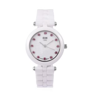 EON 1962 Burmese Ruby, White Ceramic Swiss Movement Water Resistant Watch in Stainless Steel TGW 0.24 cts.