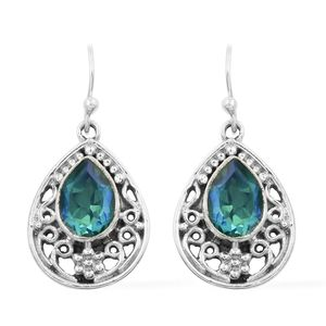 Artisan Crafted Peacock Quartz Sterling Silver Earrings TGW 4.61 cts.