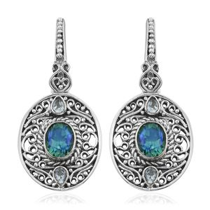 Artisan Crafted Peacock Quartz, Sky Blue Topaz Sterling Silver Earrings TGW 4.40 cts.