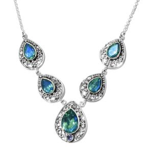Artisan Crafted Peacock Quartz, Tanzanite Sterling Silver Necklace (20 in) TGW 8.69 cts.