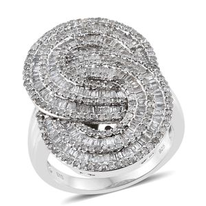 Diamond Platinum Over Sterling Silver Ring (Size 10.0) TDiaWt 2.00 cts, TGW 2.00 cts.
