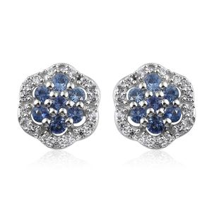Ceylon Blue Sapphire, Cambodian Zircon Platinum Over Sterling Silver Stud Earrings TGW 0.96 cts.