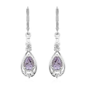 KARIS Collection - Rose De France Amethyst, White Topaz Platinum Bond Brass Drop Earrings TGW 1.32 cts.