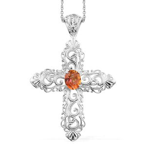 KARIS Collection - Twilight Mystic Quartz Platinum Bond Brass Cross Pendant With Stainless Steel Chain (20 in) TGW 2.30 cts.