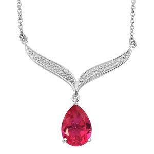 KARIS Collection - Rubellite Quartz Platinum Bond Brass Drop Necklace (18 in) TGW 5.85 cts.