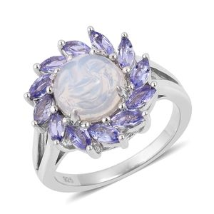 Customer Appreciation Day Ethiopian Welo Opal, Tanzanite Platinum Over Sterling Silver Ring (Size 7.0) TGW 2.15 cts.
