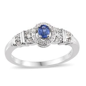 Ceylon Blue Sapphire, Cambodian Zircon Platinum Over Sterling Silver Ring (Size 7.0) TGW 0.63 cts.
