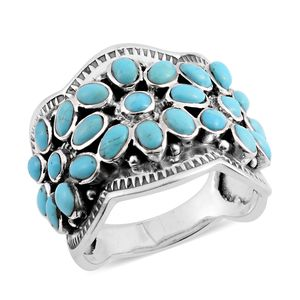 Santa Fe Style Kingman Turquoise Sterling Silver Floral Ring (Size 7.0) TGW 4.00 cts.