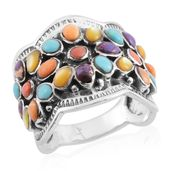 Santa Fe Style Kingman Turquoise, Multi Gemstone Sterling Silver Floral Ring (Size 7.0) TGW 1.87 cts.