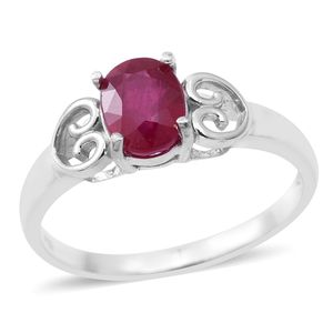 Niassa Ruby Sterling Silver Heart Ring (Size 7.0) TGW 1.65 cts.