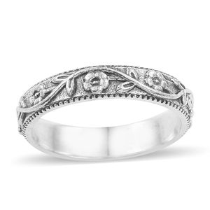 Artisan Crafted Sterling Silver Floral Band Ring (Size 7.0)