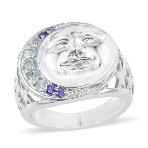 KARIS Collection - Sky Blue Topaz, Simulated Amethyst Diamond Platinum Bond Brass Moon and Stars Ring (Size 7.0) TGW 0.79 cts.
