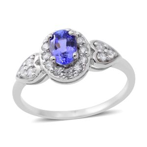 Premium AAA Tanzanite, Cambodian White Zircon Sterling Silver Heart Ring (Size 8.0) TGW 1.08 cts.