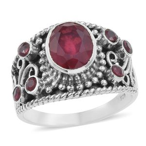 Artisan Crafted Niassa Ruby Sterling Silver Openwork Ring (Size 7.0) TGW 4.94 cts.