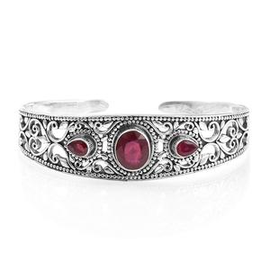 Artisan Crafted Niassa Ruby Sterling Silver Openwork Cuff (7.50 in) TGW 8.78 cts.
