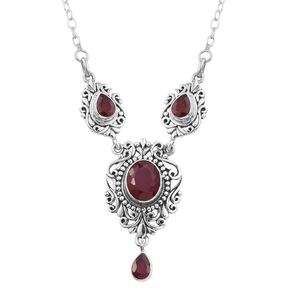 Artisan Crafted Niassa Ruby Sterling Silver Drop Necklace (20 in) TGW 9.06 cts.
