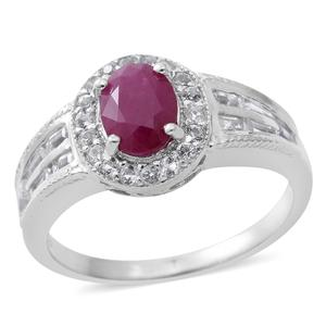 Burmese Ruby, White Topaz Sterling Silver Ring (Size 9.0) TGW 2.66 cts.