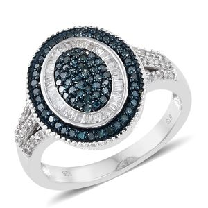 Diamond, Blue Diamond (IR) Blue Rhodium & Platinum Over Sterling Silver Ring (Size 8.0) TDiaWt 0.75 cts, TGW 0.75 cts.