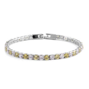 Simulated Green and White Diamond Silvertone Tennis Bracelet (8.00 In) TGW 7.92 cts.