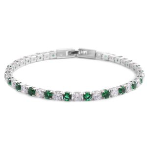 Simulated Dark Green and White Diamond Silvertone Tennis Bracelet (8.00 In) TGW 7.92 cts.