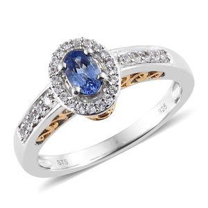 Ceylon Blue Sapphire, Cambodian Zircon Vermeil YG & Platinum Over Sterling Silver Ring (Size 7.0) TGW 0.96 cts.