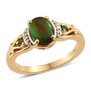 Canadian Ammolite, Multi Gemstone Vermeil YG Over Sterling Silver Ring (Size 8.0) TGW 1.67 cts.