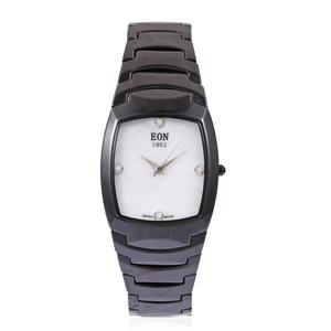 EON 1962 Diamond Swiss Movement Water Resistant Watch with Black Ceramic Strap & Stainless Steel Back TDiaWt 0.06 cts, TGW 383.96 cts.