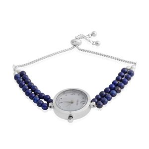 STRADA Lapis Lazuli Japanese Movement Water Resistant Beaded Bolo Bracelet Watch in Stainless Steel (Adjustable) TGW 8.60 cts.