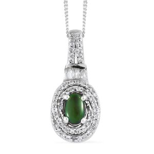 Canadian Ammolite, Cambodian Zircon Platinum Over Sterling Silver Pendant With Chain (20 in) TGW 0.87 cts.