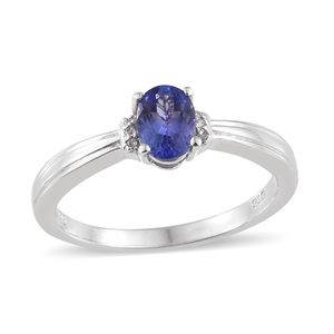 Tanzanite, Cambodian Zircon Platinum Over Sterling Silver Ring (Size 7.0) TGW 0.78 cts.