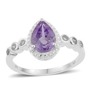 Rose De France Amethyst, Simulated Diamond Sterling Silver Ring (Size 7.0) TGW 1.90 cts.